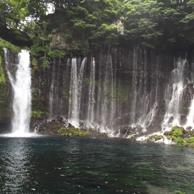 【白糸の滝、音止の滝】 白糸ガーデンの、元祖富士宮焼きそばを食べ、美しい滝にうっとり