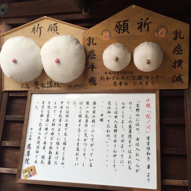 【慈尊院】 空海の母と関わりの深い寺で、乳房型の絵馬がある